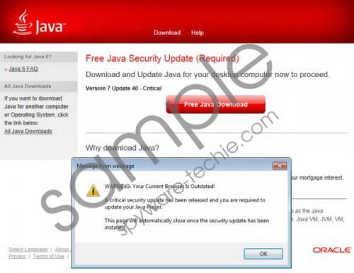 Java Software Critical Update Fake alert