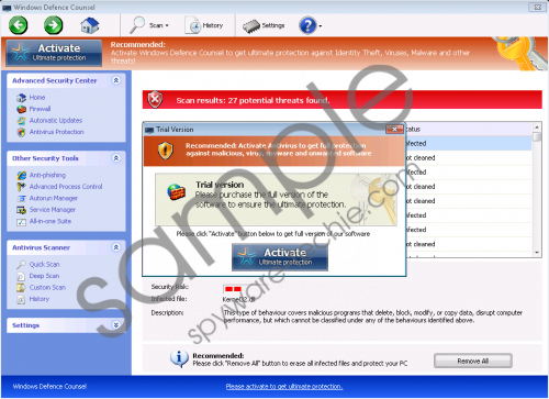 Windows Defence Counsel Removal Guide