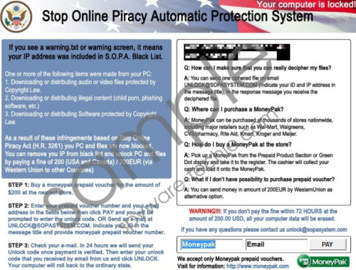 SOPA piracy charges Virus Removal Guide