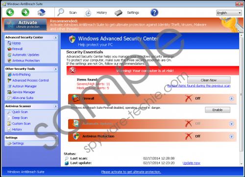 Windows AntiBreach Suite Removal Guide