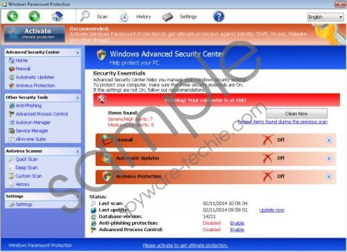 Windows Paramount Protection Removal Guide