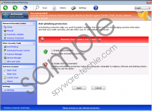 Windows Internet Watchdog Removal Guide