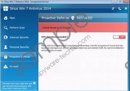 Sirius Win 7 Antispyware 2014 Removal Guide