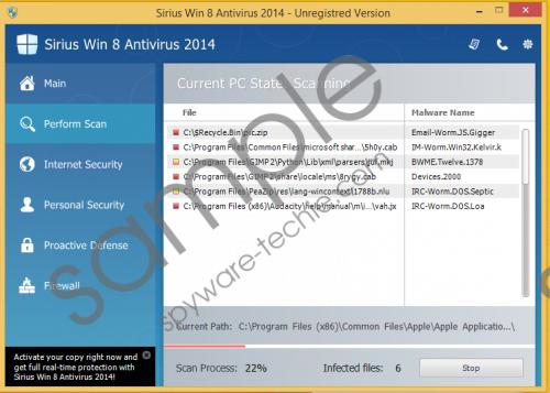 Sirius Win 8 Antivirus 2014 Removal Guide