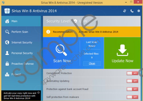 Sirius Win 8 Protection 2014 Removal Guide