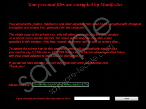 Manifestus Ransomware Removal Guide