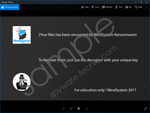 MindSystem Ransomware Removal Guide