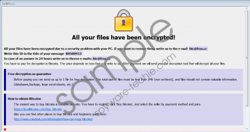 btc@fros.cc Ransomware Removal Guide