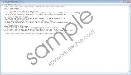 NOT_OPEN_LOCKER Ransomware Removal Guide