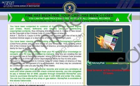 FINE HAS BEEN PAID FBI Virus Removal Guide