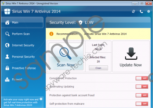 Sirius Win 7 Protection 2014 Removal Guide