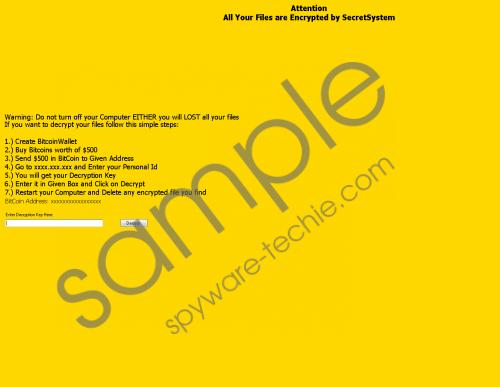 SecretSystem Ransomware Removal Guide