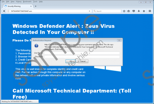 Fake Windows Defender Alert: Zeus Virus Removal Guide