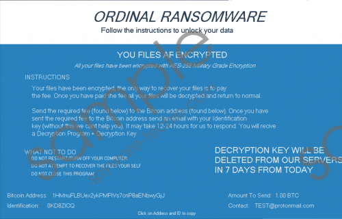 Ordinal Ransomware Removal Guide