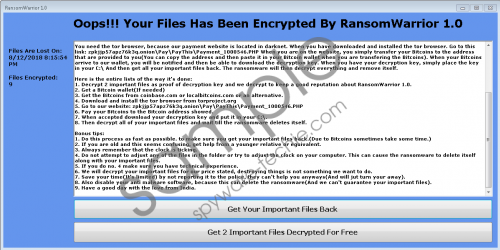RansomWarrior 1.0 Ransomware Removal Guide